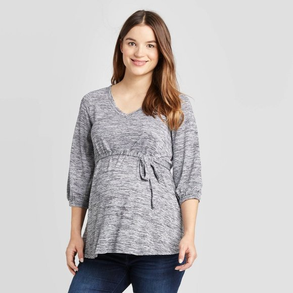 Isabel Maternity by Ingrid & Isabel Tops - Maternity Striped 3/4 Sleeve V-Neck Tie Front Top